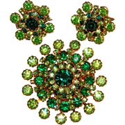 Fabulous GREEN RHINESTONE Vintage Brooch Set