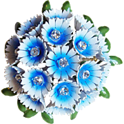Corocraft Enamel Flowers Vintage Brooch