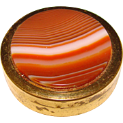 Beautiful BANDED AGATE Small Trinket or Pill Box - Red Tag Sale Item