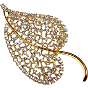Gorgeous DODDS Large Blue Rhinestone Leaf Brooch