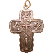 Beautiful Vintage STERLING Four Way Devotional Cross Pendant