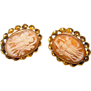 Fabulous THREE GRACES Carved Shell Cameo Vintage Earrings