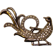Fabulous ART DECO Bird Rhinestone Vintage Pin Brooch