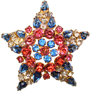 Fabulous COLOR RHINESTONE Star Shaped Brooch