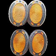 Art Deco Amber Enamel Silvertone Cufflinks