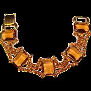 Fabulous AMBER GLASS & Rhinestone Vintage Bracelet