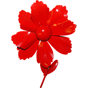 Awesome FLOWER POWER Vibrant Red Enamel Vintage 1960s Estate Pin Brooch