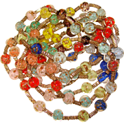 Fabulous MIXED COLORS Venetian Murano Glass Vintage Estate Necklace