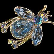 Fabulous REGENCY JEWELS Blue Rhinestone Insect Brooch