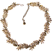 Gorgeous TRIFARI Signed Stylized Leaf Link Vintage Necklace