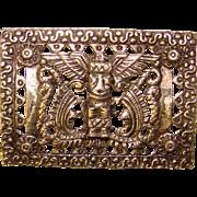 Exotic Vintage PERUVIAN ART Signed Vintage Brooch