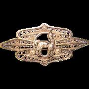 Gorgeous 900 Silver Filigree LLAMA Vintage Brooch