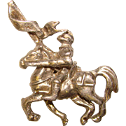 Awesome KNIGHT on Horse Small Figural Vintage Brooch