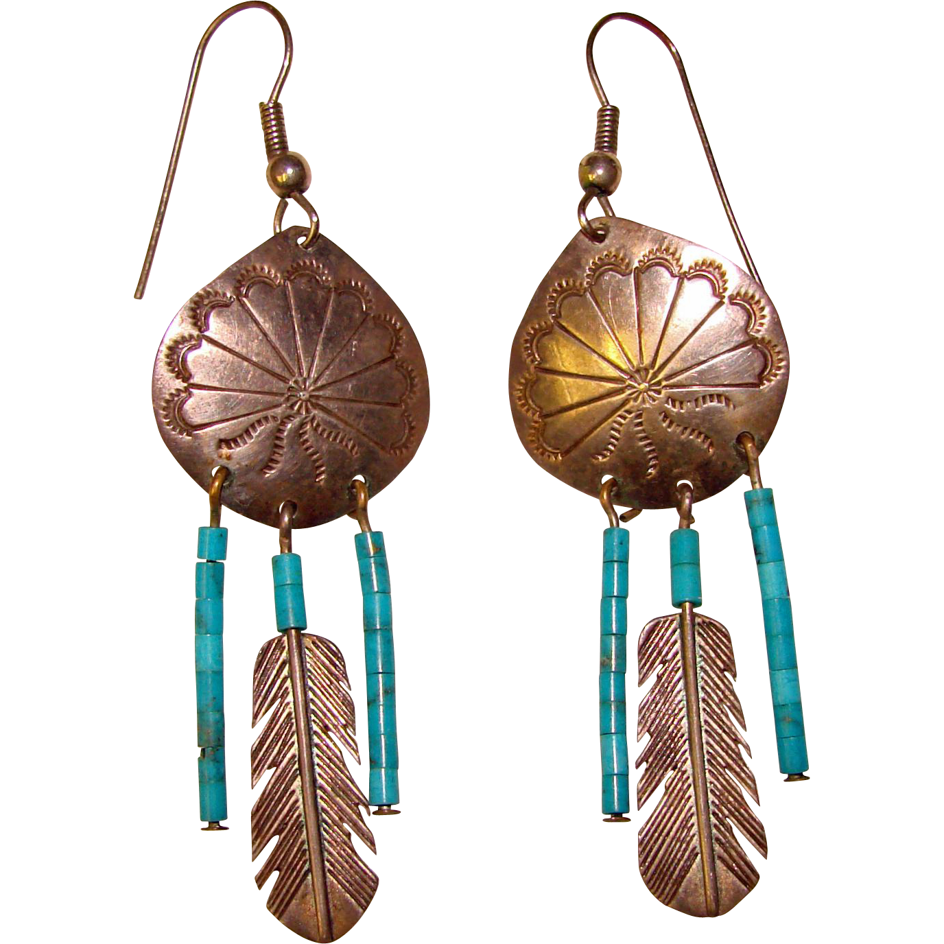 Awesome STERLING & TURQUOISE Long Dangle Vintage Earrings