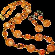 Fabulous ORANGE CRYSTAL and Marbled Bead Vintage Necklace Set