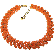 Fabulous TRIFARI Signed Vintage Coral Colored Stones Necklace