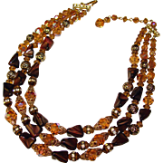 Fabulous AUTUMN Color Art Glass Rhinestone and Crystal Beads Necklace