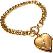 Fabulous HEART WATCH Gold Filled Thick Chain Vintage Bracelet