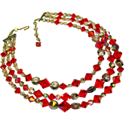 Fabulous RED AURORA and Smoke Crystal 3 Strand Vintage Estate Necklace