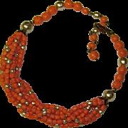Gorgeous CORAL GLASS & Faux Pearl Vintage Estate Necklace
