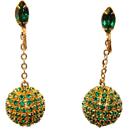Fabulous GREEN Rhinestone Covered Disco Ball Vintage Earrings