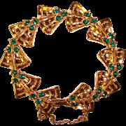 Gorgeous ORA Signed Green Rhinestone Vintage Bracelet