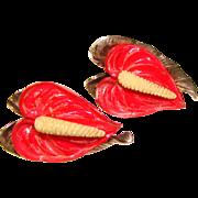 Fabulous MINGS Red Anthurium Flower Sterling Earrings