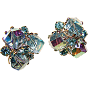 Gorgeous VOGUE Signed Aqua Crystal and Rhinestone Vintage Clip Earrings