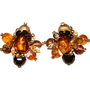 Gorgeous VENDOME Signed Amber and Black Clip Earrings