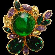 Fabulous GREEN & PURPLE Fancy Dress Clip Brooch