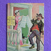 Antique RISQUE Doctor Panties Drunk Bum & Cat Estate Comic Postcard