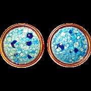 Awesome BLUE Signed Matisse Vintage Enamel Earrings