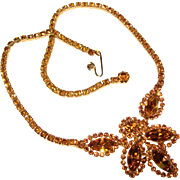 Fabulous Unsigned WEISS Vintage Autumn Colored Rhinestone Necklace