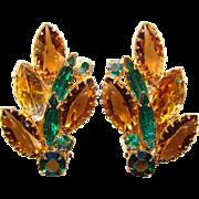 Fabulous Green Brown & Amber Rhinestone Vintage Clip Earrings