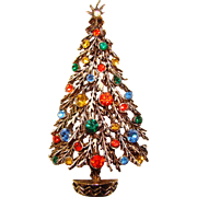 Fabulous Vintage ART Signed Rhinestone Christmas Tree Brooch