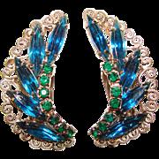 Fabulous HOBE Signed Blue & Green Vintage Clip Earrings