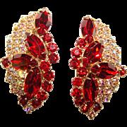 Fabulous HUGE Red Rhinestone Aurora Vintage Clip Earrings