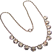 Fabulous ART DECO Open Back Sterling Crystal Stones Necklace