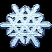 Norwegian Sterling & Enamel Tiny Snowflake Vintage Brooch