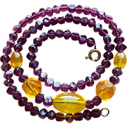 Gorgeous OLD Purple & Yellow Glass Beads Necklace