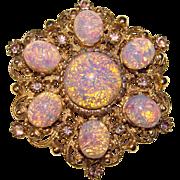 Fabulous OPAL GLASS Lavender Rhinestone Vintage Brooch