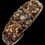 Fabulous TAMMEY JEWELS Signed Opal Glass Dragons Breath Rhinestone Bracelet