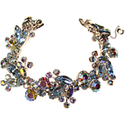 Very Special WEISS Signed Blue Aurora Rhinestone Vintage Bracelet