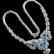 Bogoff Signed Aqua & Clear Rhinestone Vintage Necklace