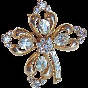 Gorgeous Coro 4 Leaf Clover Rhinestone Vintage Brooch
