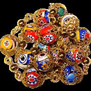 Fabulous MILLEFIORI GLASS Color Beads Italian Vintage Estate Necklace