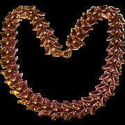 Gorgeous RENOIR Signed Copper Laurel Link Design Vintage Necklace