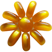 Amber MOONGLOW LUCITE Vintage Flower Brooch