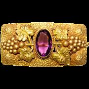 Fabulous VICTORIAN Purple Glass Stone Grape Design Sash Pin Brooch
