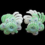 Fabulous Huge Plastic & Rhinestone Vintage Earrings - Germany